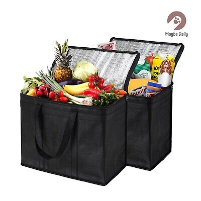 2 XL Insulated Reusable Grocery Bags, Sturdy Zipper, Foldable, Washable (2 PACK)