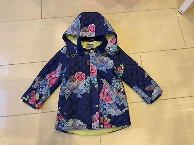 JOULES Blue Pink Floral Quilted Padded Warm Hooded Coat Age 7 Years