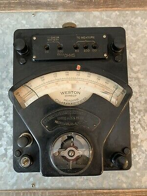 ANTIQUE WESTON DIRECT-READING OHM-METER MODEL #1. Steampunk