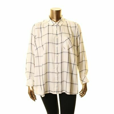 TOMMY HILFIGER Women's White/black Plus Size Plaid Button Down Shirt Top 1X TEDO