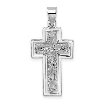 FB Jewels Solid 925 Sterling Silver Polished Beaded Filigree Inri Crucifix Pendant