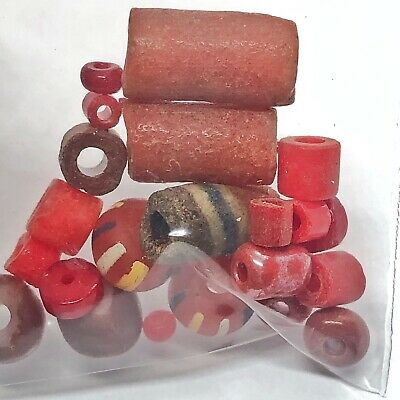15 Red Ancient & Medieval Glass Beads Mixed Lot Venetian, Roman, Phoenician Etc