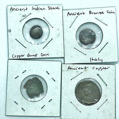 4 Authentic Ancient Old World Coins Roman Empire, Byzantine, Greek, Indian Rare