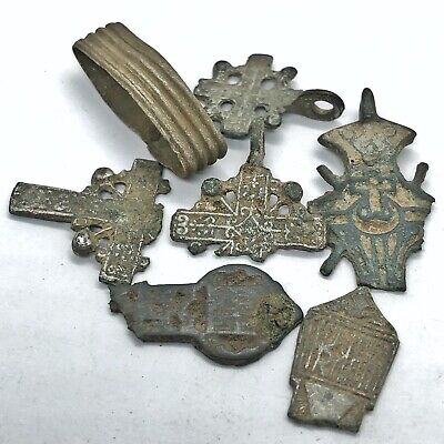 Medieval Silver Or Platinum Russian Artifacts Authentic Coin Bead Pendant Cross