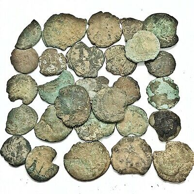 Ancient Roman Coin Fragment Lot Uncleaned Some Light Detail Artifacts Old