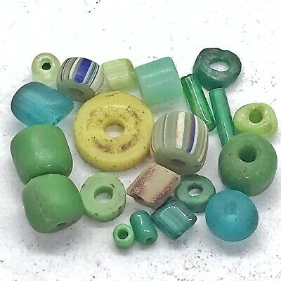 15+ Ancient & Medieval Glass Beads Old — Roman Viking Venetian Byzantine — Green