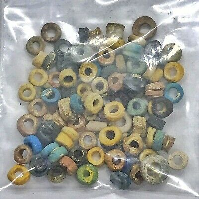 Ancient Egyptian Faience Clay Mummy Beads Artifacts Pharaoh Old Lot Ex-Necklace