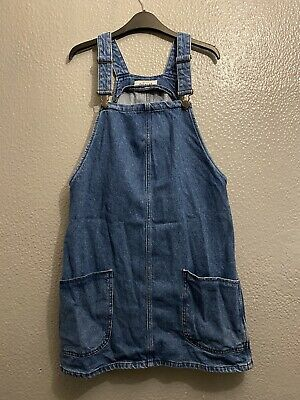 New Look Mid Blue Denim Dungaree Pinafore Dress Size 10