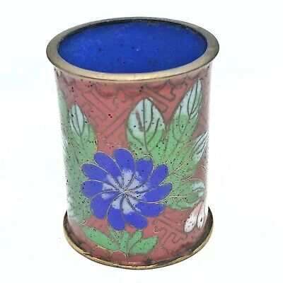 Antique Chinese Late/Post Qing Dynasty Cloisonné Brush Pot/Cup - Brass & Enamel