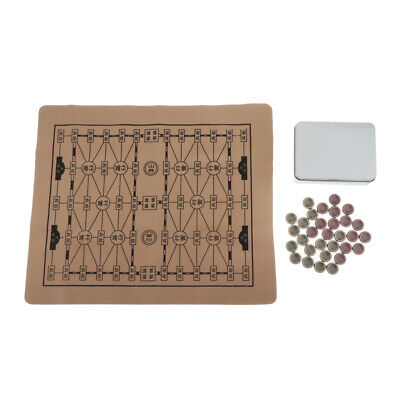 Chinese Metal Bronze Pieces Chess with Foldable Chess Board & Box for Leisure
