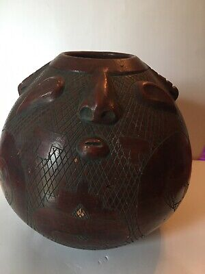Vintage Brazil Etched Pottery Not Signed Reis Para ? Two Or Four Faces Vase