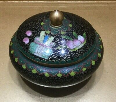 Vintage/ Antique  Chinese Cloisonne Jar With Lid Lotus Flowers black green gold