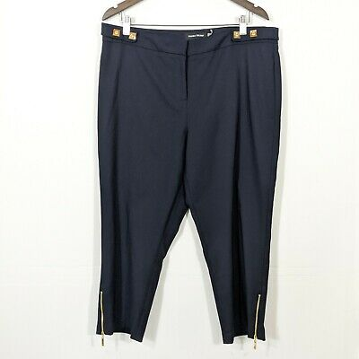 Ivanka Trump Women's Navy Blue Cropped Zip Hem Pants Plus Size 16 High Rise