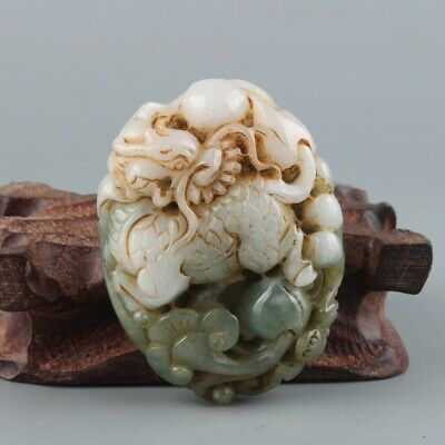 Chinese Exquisite Hand carved Jadeite jade Pendant