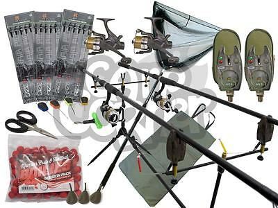 2 Barra Carpa Pesca Set Up Kit con Carretes Recogida Red Pie Cebo Tapete Abordar