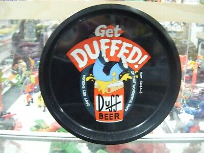 The Simpsons Duff Beer Tin Metal Tray Get Duffed 1999 Plate Rolling Homer Rare!