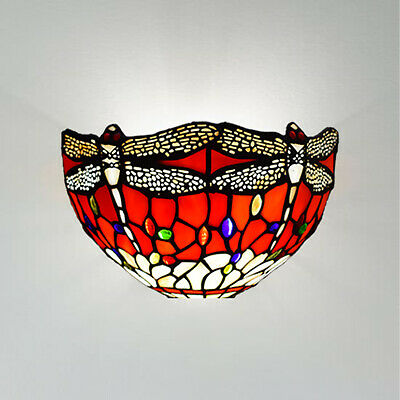 Stunning Antique Tiffany Style Wall Lamp Dragonfly Design Handcrafted Shade