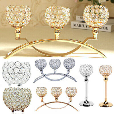 Crystal Glass Candle Holder Tealight Candlestick Votive Wedding Centerpiece New
