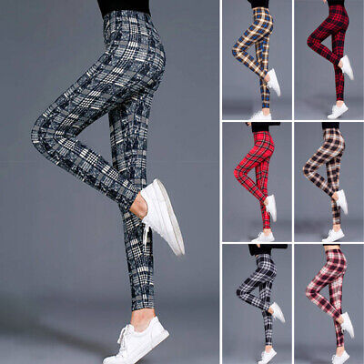 Womens Plain High Waist Trousers Ladies Check Tartan Skinny Slim Fit Long Pants