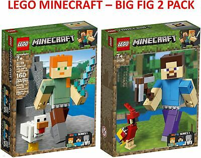 Lego Minecraft BigFig 2 Pack 21148 Steve with Parrot & 21149 Alex with Chicken
