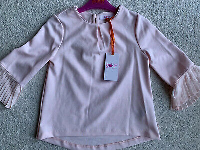 Ted Baker Girls Age 6-7 Smart Pink Long  Frilled Sleeved Top Brand New