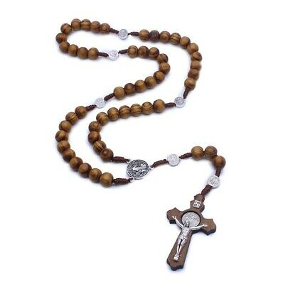 Rosary Necklace Catholic Jesus Crucifix Cross Prayer Wood Bead Chain Lace Set