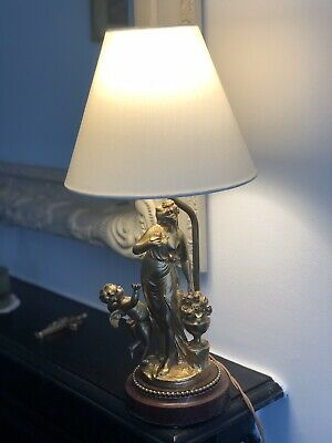 Antique French Table Lamp Bronze Gold Leaf Marble Base Apprx 40cm High