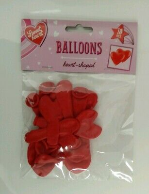 Pack Of 10 RED HEART SHAPED BALLOONS - Birthday, Anniversary, Engagement