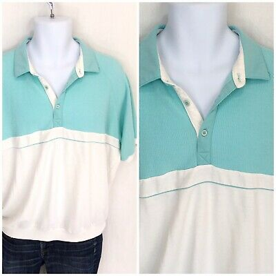 Vintage 70s 80s Banded Waist Knit Golf Polo Pullover Raglan Sleeve Sears XL