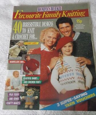 """Original Vintage 1987/88? """"Woman's Weekly"""" """"Favourite Family Knitting"""""""