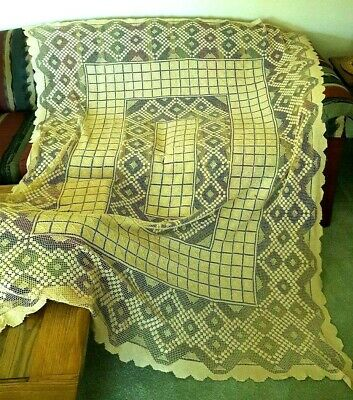 VINTAGE NATURAL CREME 5'x6' HANDMADE CROCHET COTTON TABLECLOTH GEOMETRIC DIAMOND