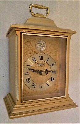 ELECTRO-MECHANICAL GOLD  CARRIAGE CLOCK by RHYTHM