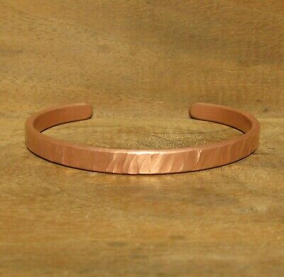 Copper Cuff Bracelet Handmade Distressed Round or Oval, Size 7.5, #166-4
