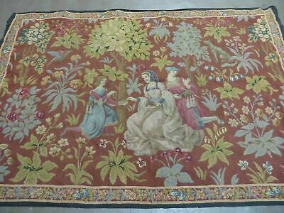 4' X 5' Antique TAPESTRY Belgium Hand Made Petitpoint Needlepoint One Of A Kind