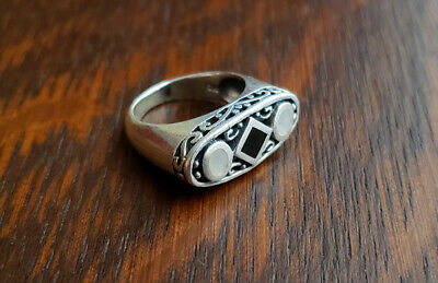 Vintage Marsala Onyx & Abalone Sterling Silver Ring Size 6.75