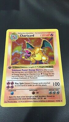 Pokemon 💎 Base Set 1st Edition Shadowless Charizard💎Extremely Rare Mint First!