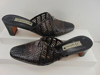 Brighton Abby 8.5 M slides woven LEATHER blk & brown slip on mule pump $295.00!
