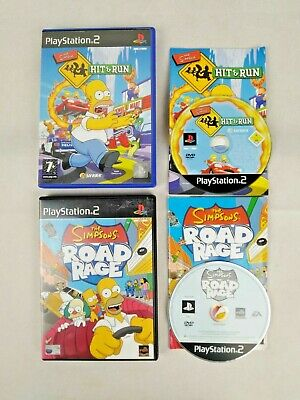 The Simpsons Road Rage + Hit & Run PS2 PlayStation 2 Game Bundle Originals