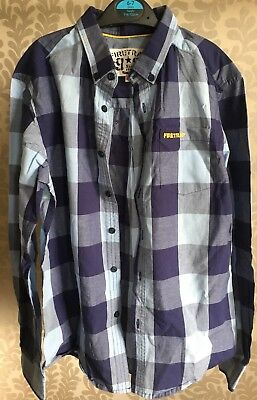 Boys Firetrap Blue Checked, Cotton Shirt, Long Sleeved, Aged 10/11 Years, VGC