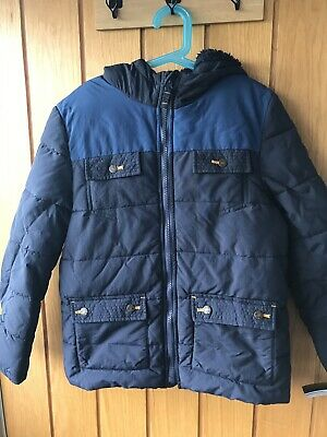 FAT FACE Boys Navy Winter 2-in-1 Jacket/Coat (Removable Sleeves), Age 10-11 Yrs
