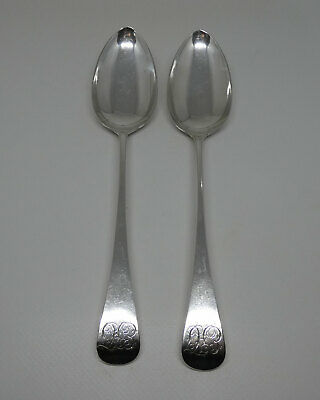 Pair Georgian Sterling Silver Old English large spoons London 1811 108g G Wintle