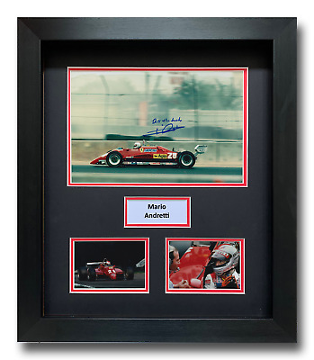 Mario Andretti Hand Signed Framed Photo Display - Ferrari Formula 1 Autograph.