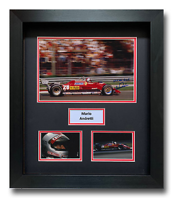 Mario Andretti Hand Signed Framed Photo Display - Ferrari Formula 1 Autograph 1.