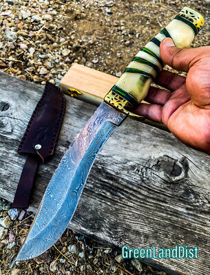 """13"""" Damascus Handmade Forged Blade Hunting Knife White & Green Handle Leather S"""