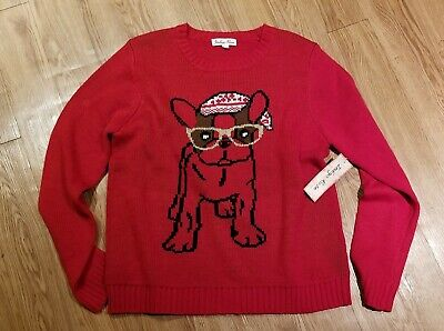 French  Bulldog Frenchie Dog LADIES sweater blouse NWT perfect for Valentine's