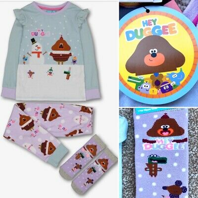 Tu HEY DUGGEE 3 Piece Girls Cotton Pyjamas & Socks Set - 2-3 Years - Brand New!