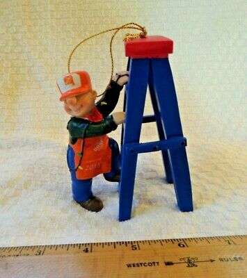 Home Depot Composition Tree Ornament, Man Wearing Hd Apron, Hat W/Blue Ladder