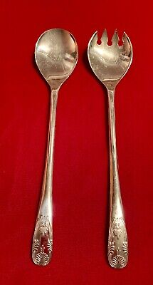 """Vintage Set Salad Serving Spoon & Fork Silver Plated Lot Long 9 1/4"""" ITALY"""