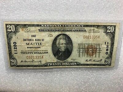 First National Bank Of Seattle, Wash - 1929 $20 National Banknote Type 1