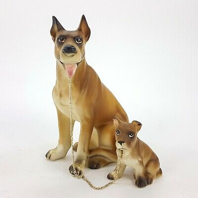 "Vintage Lipper & Mann Great Dane & Puppy on Leash 6.5"" Figurine Porcelain Brown"